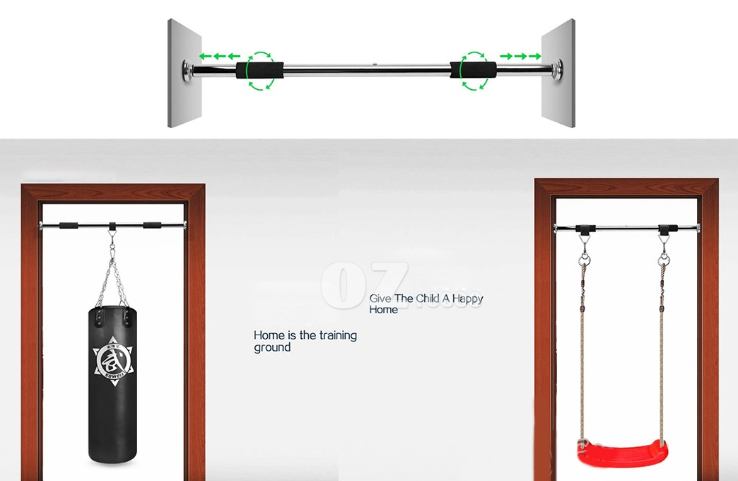 Portable chin up bar pullup doorway exercise home gym for Door frame pull up bar