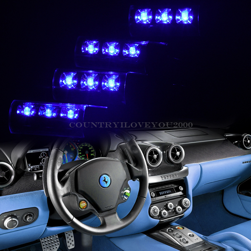 oz bright blue led car interior neon light kit glow lamp charger 12v. Black Bedroom Furniture Sets. Home Design Ideas